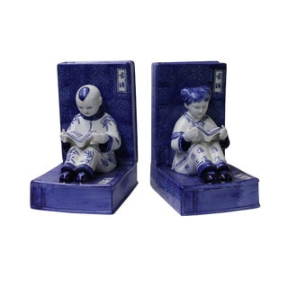 Porcelain Blue & White Color Kid Reading Book Figure Bookend Stopper For Sale