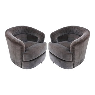 Pair of Milo Baughman Style Swivel Barrel Chairs For Sale