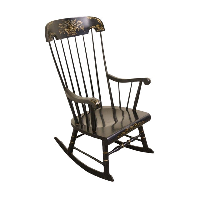 Tell City Black and Gold Hitchcock Style Rocking Chair For Sale