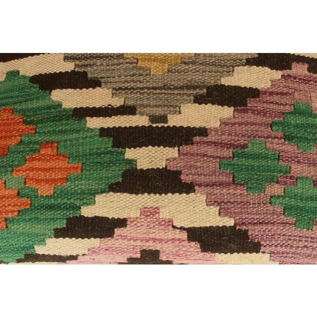 Arshs Dora Chocolate/Ivory Kilim Upholstered Handmade Ottoman For Sale In New York - Image 6 of 8