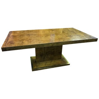 Burl Elm Wood Dining Table With Brass Frame For Sale