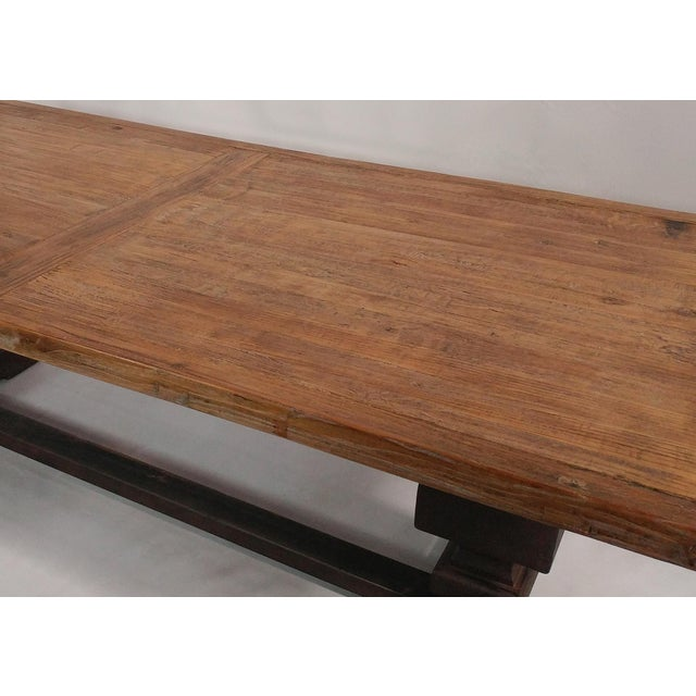 Reclaimed Wood Dining Table with Metal Like Trestle - Image 2 of 3
