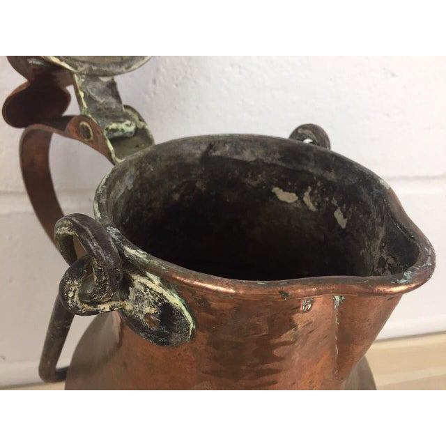 19th Century Copper Handmade Lidded Coffee Tea Pot For Sale - Image 9 of 10