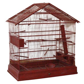 Large Wire & Wood Birdcage For Sale