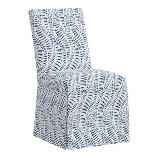 Slipcover Dining Chair in Snake Skin Blue For Sale