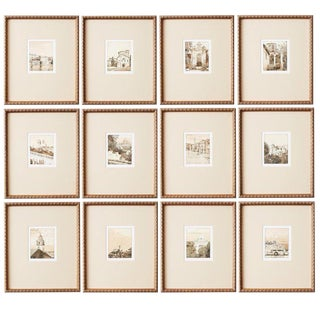 Set of Twelve Architectural Landscape Etchings by Kenneth Gregg For Sale