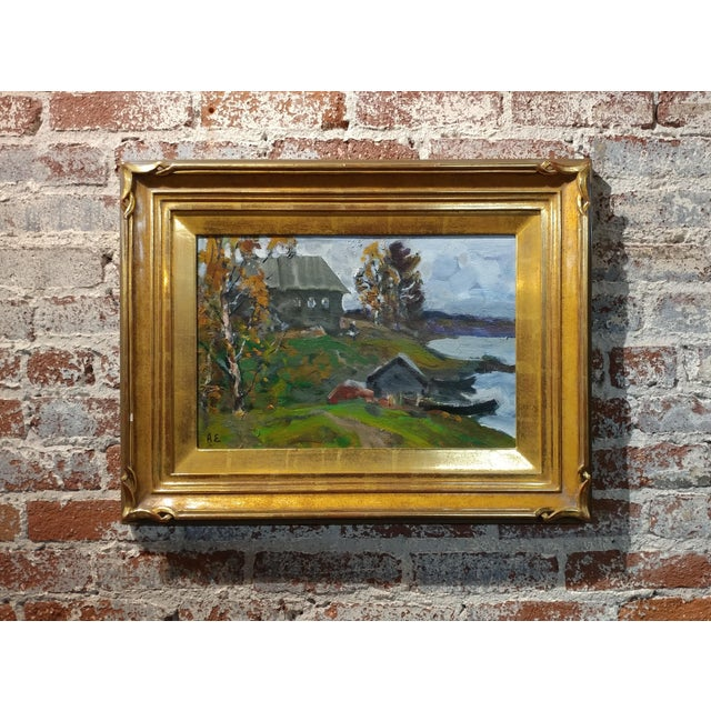 """Alex Eremin -Autumn Day at the Marina- Beautiful Landscape Oil Painting- Impressionist. frame size 19 x 25"""" canvas size 12..."""