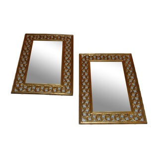 Brass Framed Mirrors - A Pair For Sale