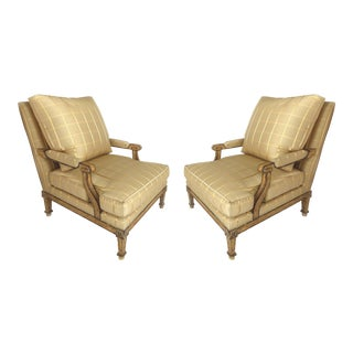 Nancy Corzine Neoclassical Fauteuil Armchairs W/ Silk & Down-A Pair For Sale