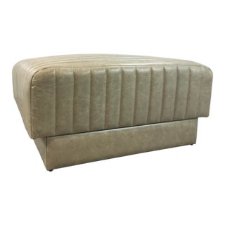 Modern Channeled Creamy Beige Leather Cocktail Ottoman For Sale