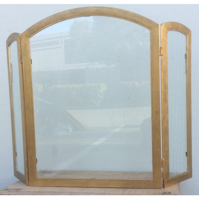 Gold Beautiful Gilt Metal and Glass Fire Screen For Sale - Image 8 of 9