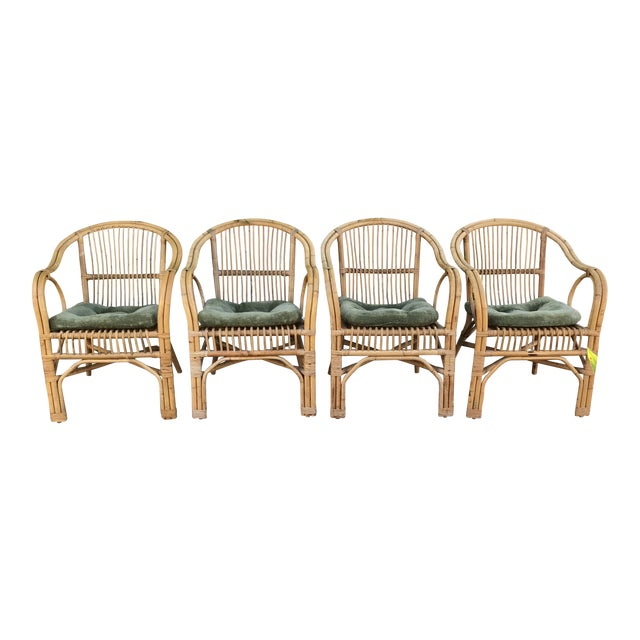 1960s Vintage Bamboo Arm Chairs- Set of 4 For Sale