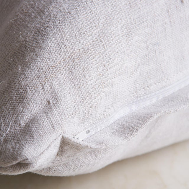 """Vintage Linen Pillow Cover 22"""" x 22"""" For Sale - Image 4 of 7"""