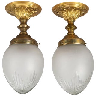 Pair of Cut-Glass Ceiling Lights For Sale