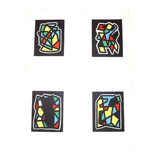 Vintage Mid 20th Century Abstract Lithographs-Ltd. Ed.-Listed French Artist-Set of 4 For Sale