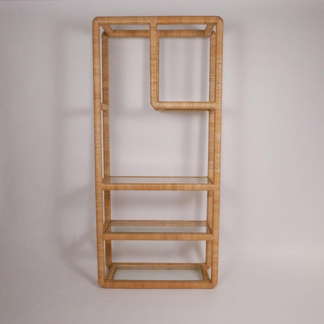 Midcentury Regency Rattan Cane and Glass Shelving Units - a Pair For Sale - Image 10 of 11