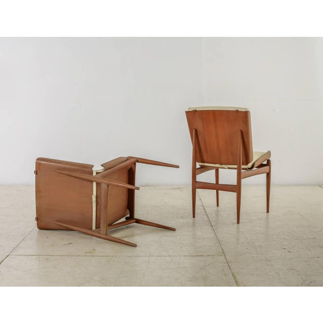 Pair of Folded Plywood and Leather Italian Side Chairs, 1950s For Sale - Image 4 of 7