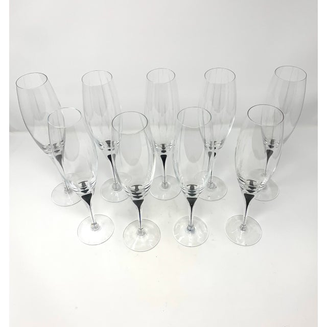 Contemporary Vintage Orrefors Intermezzo Crystal Champagne Flutes - Set of 9 For Sale - Image 3 of 10