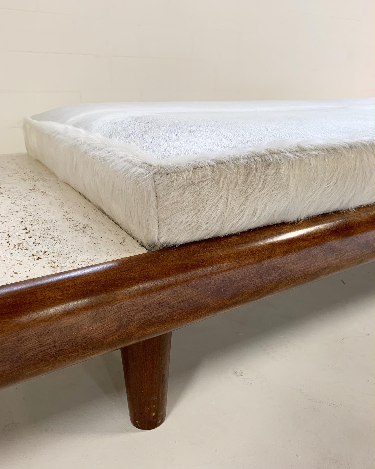 Mid Century Modern Walnut And Travertine Daybed Sofa For Sale In Saint Louis    Image