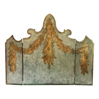 1940s Traditional Painted Arved Wood Panel or Fireplace Screen For Sale