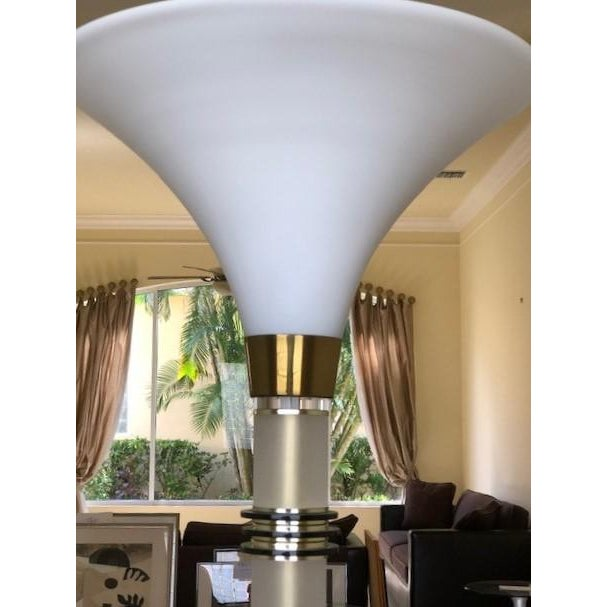 Mid-Century Modern Vintage 1960's Mid Century Modern Brass and Lucite Bauer Torchiere Floor Lamp For Sale - Image 3 of 9