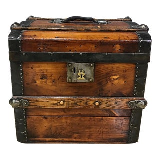 Vintage Wooden Trunk With Lift Top For Sale