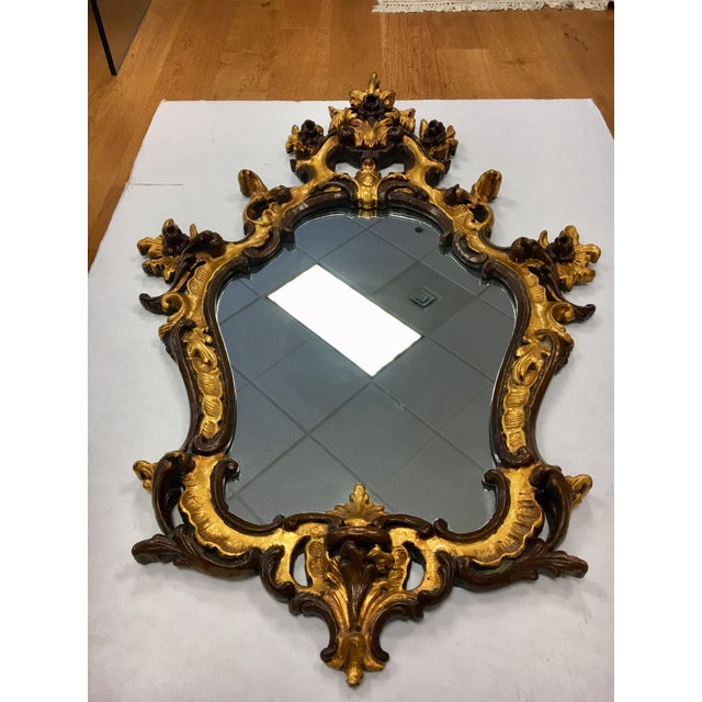 Rococo Style Ornate Carved Giltwood Shield Wall Mirror For Sale In New York - Image 6 of 13