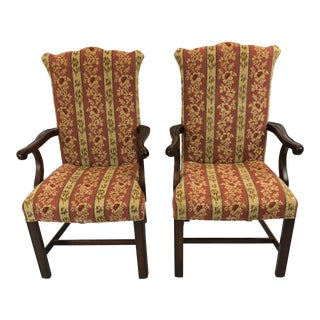 Carved Mahogany and Chenille Upholstered Armchairs - a Pair For Sale