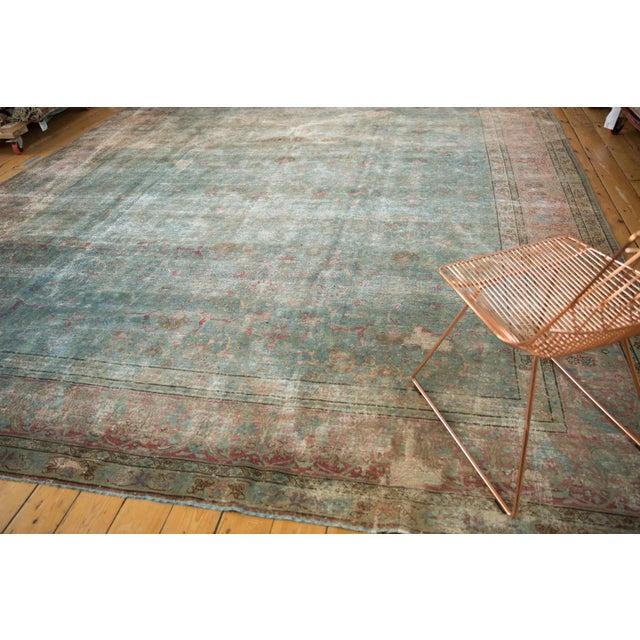 """Vintage Distressed Tabriz Square Carpet - 11'10"""" X 13'11"""" For Sale - Image 10 of 13"""