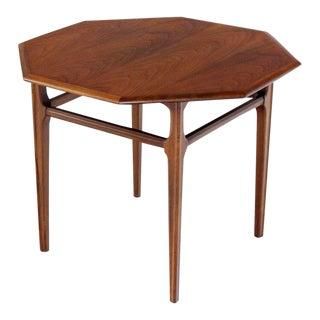 1970s Mid-Century Modern Oiled Walnut Octagon Shape Pedestal Side Table For Sale