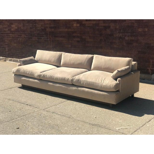 Mid Century Khaki Velvet Sofa For Sale In Chicago - Image 6 of 11