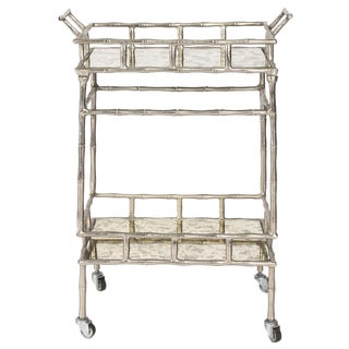 Faux Bamboo Chrome and Mirrored Bar Cart For Sale