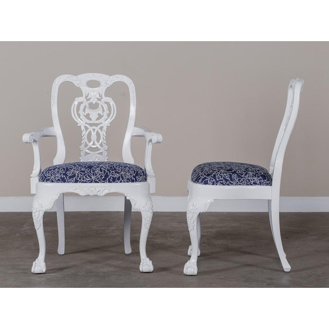 George III Chippendale Style Painted Dining Chairs - Set of 8 For Sale - Image 10 of 10