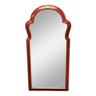 Mid Century Red Chinoiserie Decorated Mirror For Sale