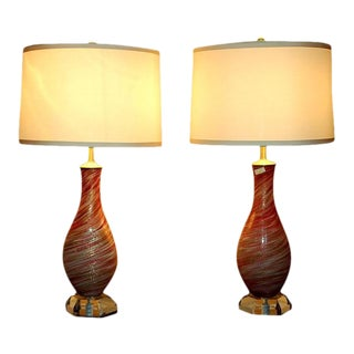Vintage Murano Swirled Glass Table Lamps Pink Gold For Sale
