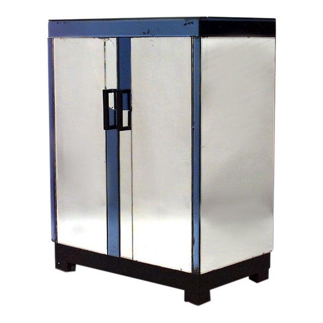 English Art Deco Mirrored 2 Door Flip Top Bar Cabinet For Sale