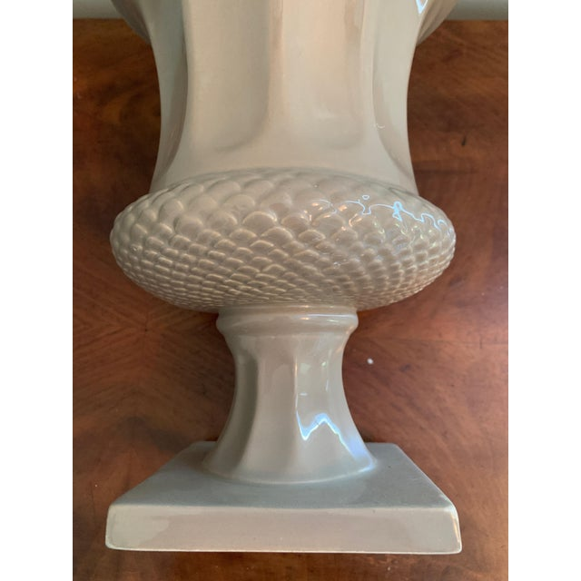 Bloomingdale's Taupe Decorative Urn Shaped Vase For Sale - Image 4 of 7