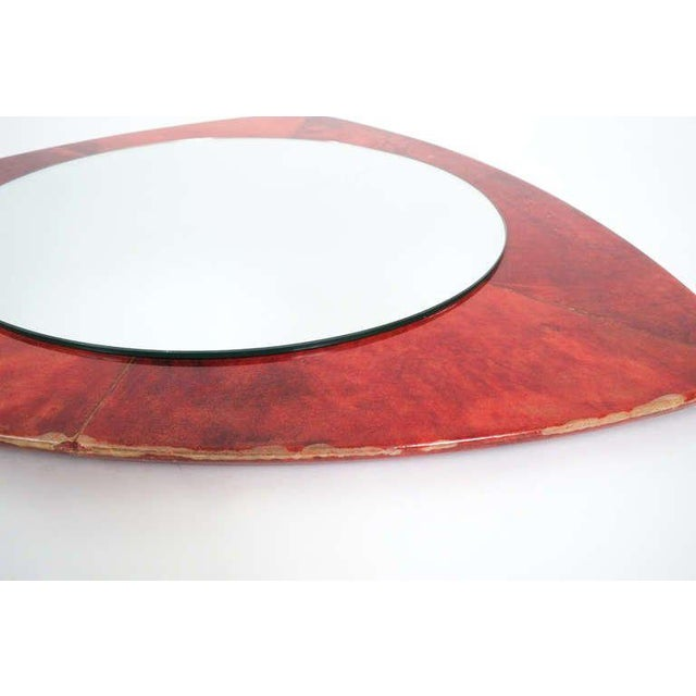 1960s Rare Aldo Tura Red Parchment Mirror, Italy 1950 For Sale - Image 5 of 7