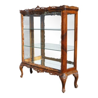Antique Italian French Baroque Ornately Carved Vitrine Display Case Cabinet