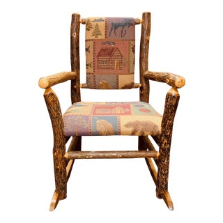 Rustic Cottage Hickory Upholstery Rocking Chair For Sale
