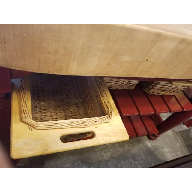 Maple John Boos Red Maple Butcher Block Island With 3 Baskets For Sale - Image 7 of 11