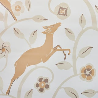 Schumacher Les Gazelles Au Bois Vinyl Wallpaper in Natural (8 Yards) For Sale
