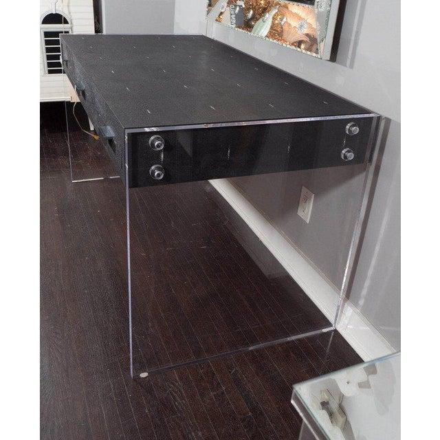 2010s Sleek Black Shagreen Desk with Lucite Side Panels For Sale - Image 5 of 7