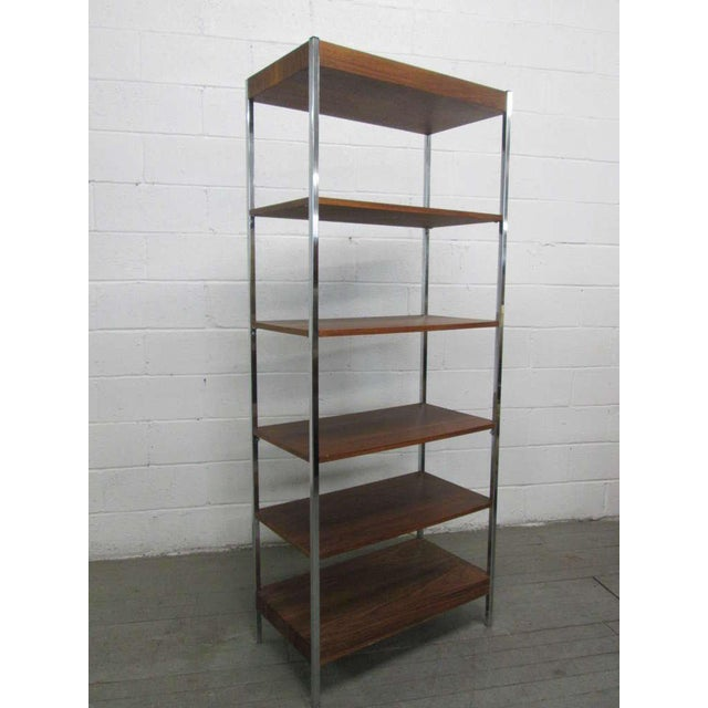 1960s Chrome & Walnut Etagere For Sale - Image 4 of 4