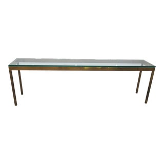 Mid-Century Modern Glass Top Console Table For Sale