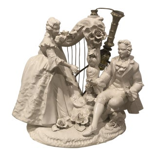 Vintage Victorian Lamp Couple Lady Playing Harp For Sale
