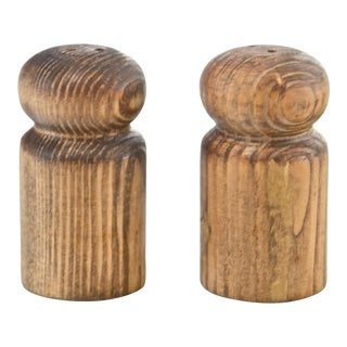 Rustic Turned Wood Salt & Pepper Shakers For Sale