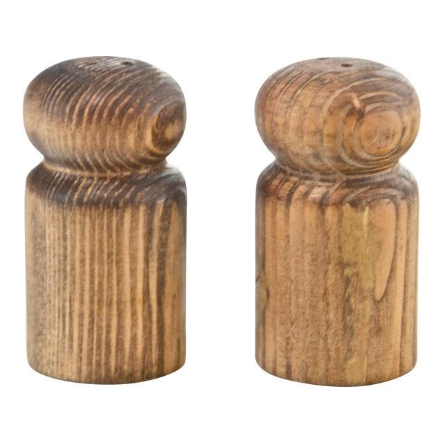 Rustic Turned Wood Salt & Pepper Shakers For Sale