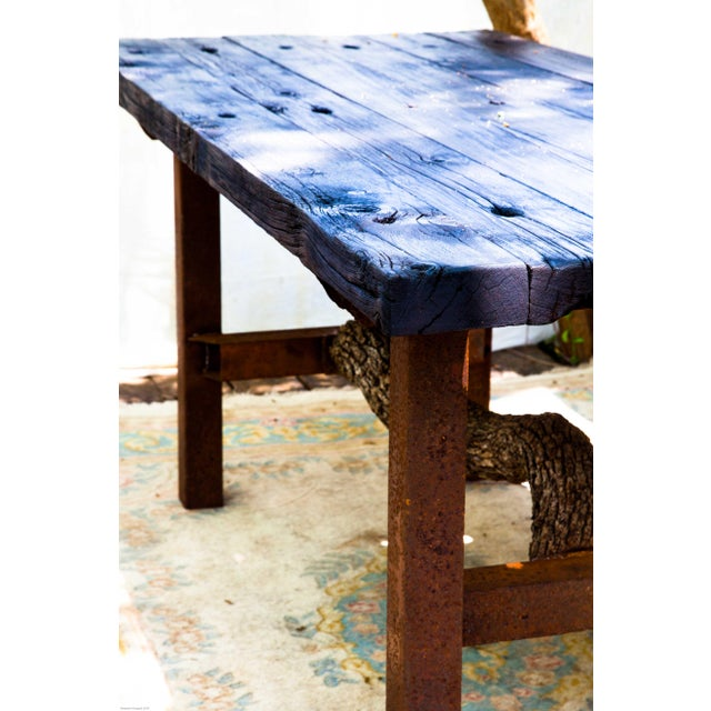 Asian Wabi-Sabi Yakisugi Wood Dining Island Table Console For Sale - Image 3 of 11
