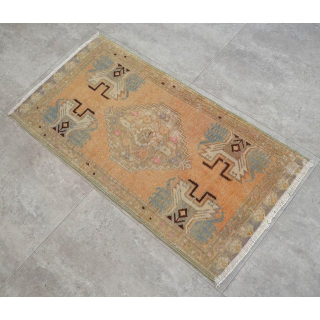 Islamic Distressed Low Pile Rug Turkish Yastik Petite Rug Faded Mat - 18'' X 37'' For Sale - Image 3 of 4